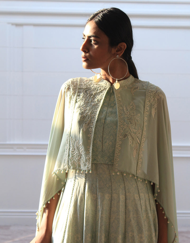 Printed Anarkali In Chanderi With An Attached Georgette Drape Featuring Chikankari Embroidery.