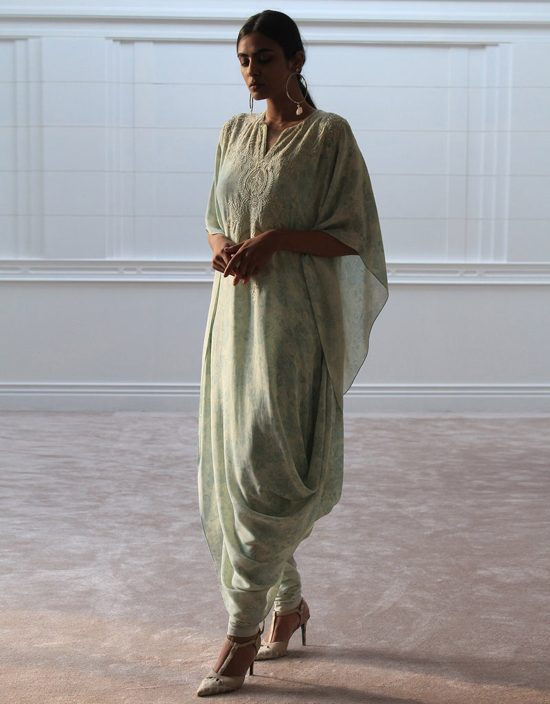 Printed Draped Kurta In Georgette Featuring Chikankari Embroidery.