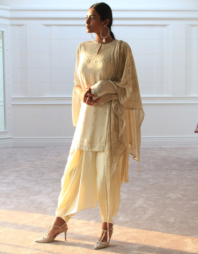 Tunic In Georgette Featuring Chikankari Embroidery. Paired With Dhoti Pants In Silk And A Digitally Printed Georgette Scarf With Fringe Detailing.