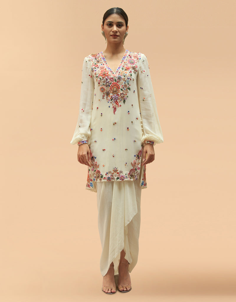 Embroidered Short Kurta With A Draped Skirt