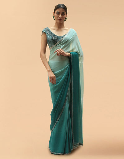 Chifffon Saree Paired With Blouse