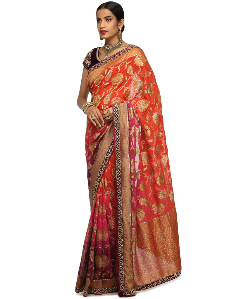 Ombre Brocade Saree- Rust to Purple