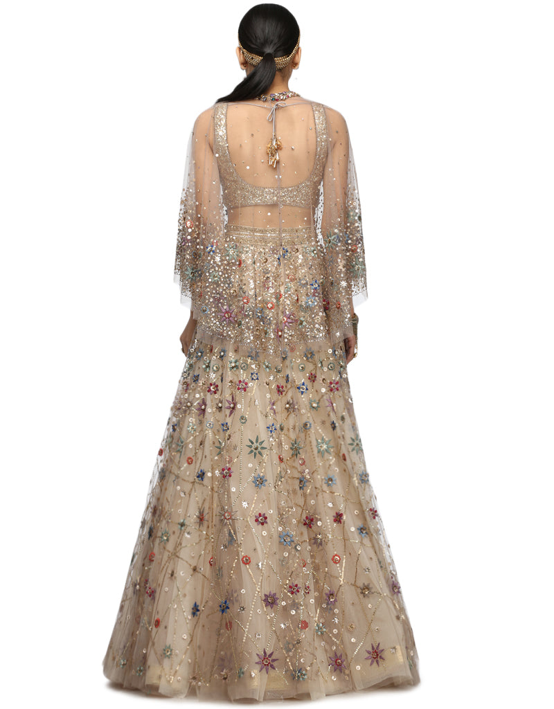 Handcrafted Lehenga with Sequin Blouse- Grey