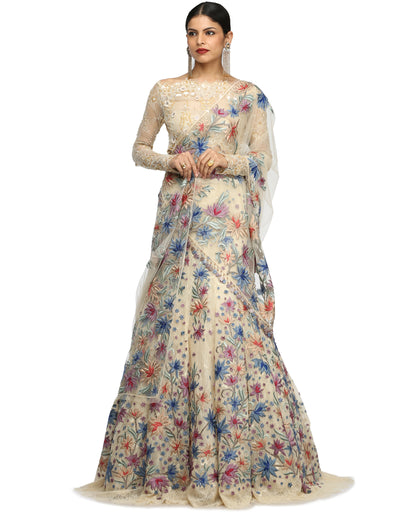 Lehenga Saree with Lace Blouse- Ivory