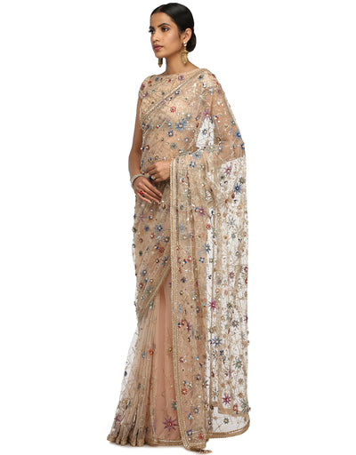 Handcrafted Saree with Blouse- Ivory