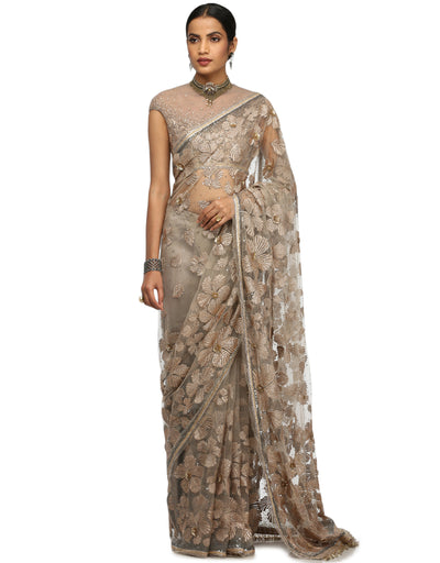 Hand-Embroidered Saree Set- Grey