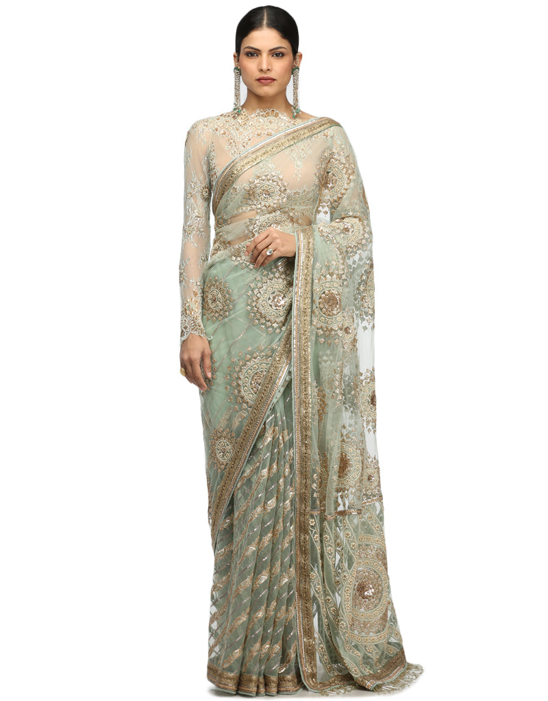 Embroidered Tulle Saree- Aqua