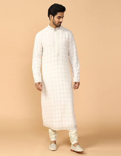 Double Layer Jaal Kurta With Tonal Churidar