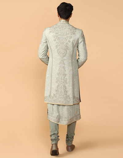 Printed Chikankari Sherwani Paired With Kurta & Churidar