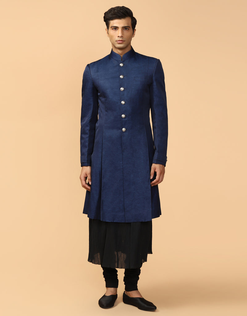 Pleated Sherwani With Kerchief
