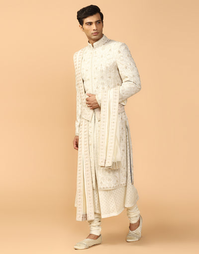 Embroidered Sherwani With Kurta, Churidar, Stole & Kamarbandh