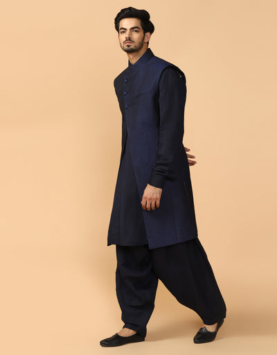 Sleeveless Sherwani With Kurta & Churidar