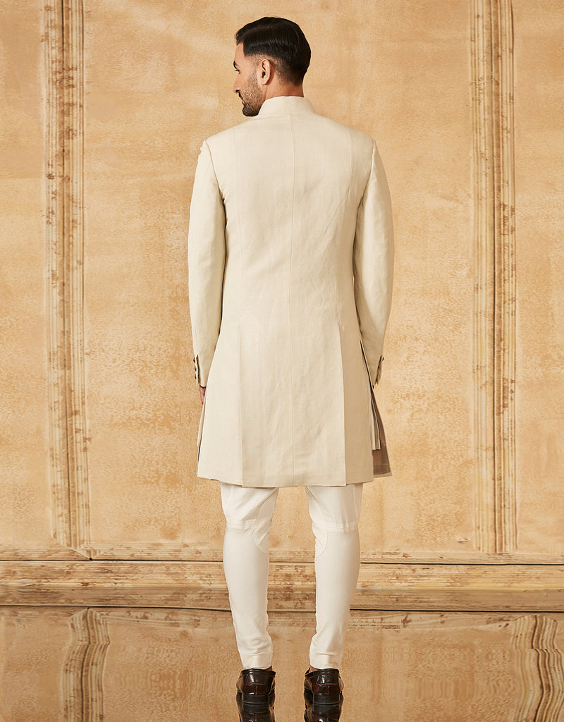 Asymmetric Cut Sherwani With Kurta And Cigarette Pants