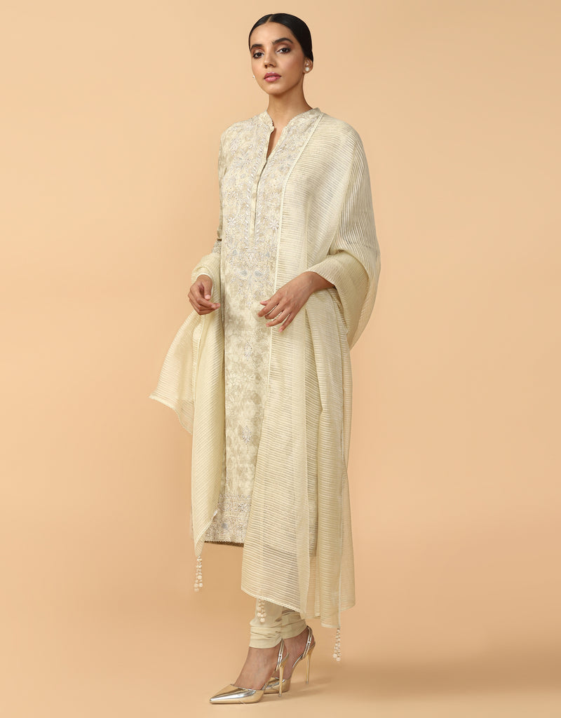 Chikankari Kurta With Churidar & Dupatta