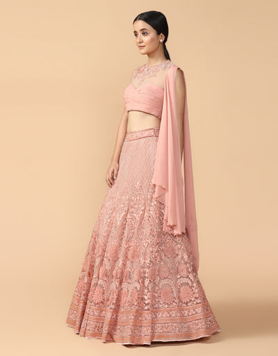 Embroidered Lehenga With Blouse And Attached Dupatta Drape