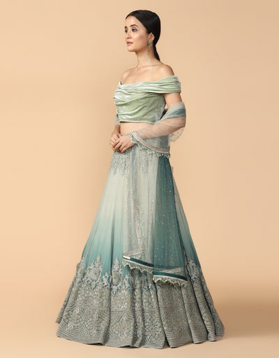 Ombre Lehenga With Blouse & Dupatta