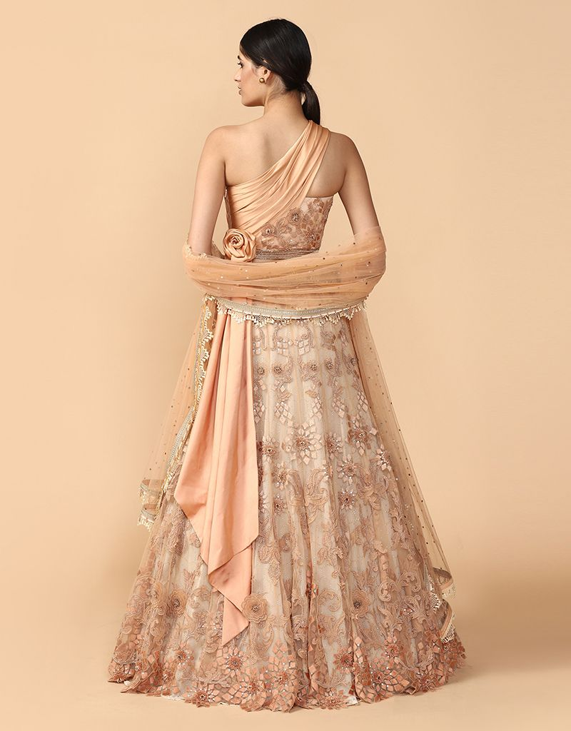 3-D Embroidered Lehenga With Blouse & Dupatta