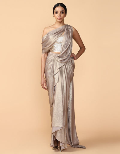 Concept Saree Paired With A Sequinned Bustier