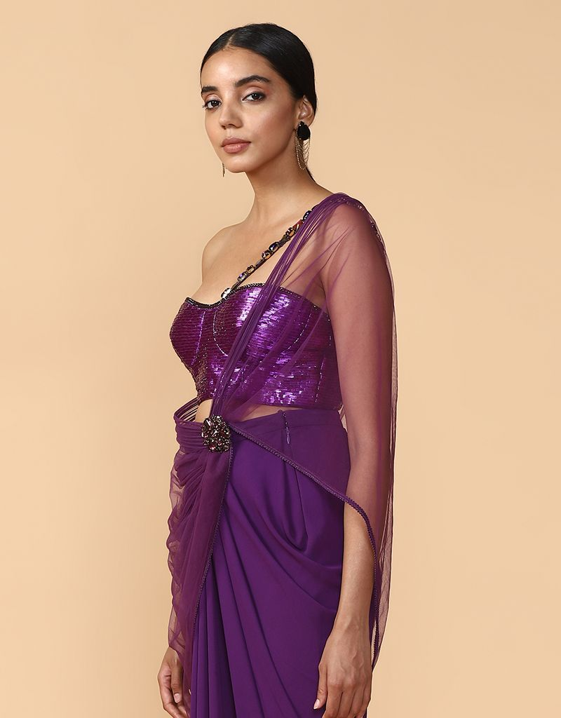 Pre-Draped Concept Saree With Blouse