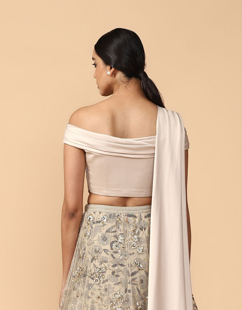 Embroidered Lehenga With A Draped Blouse