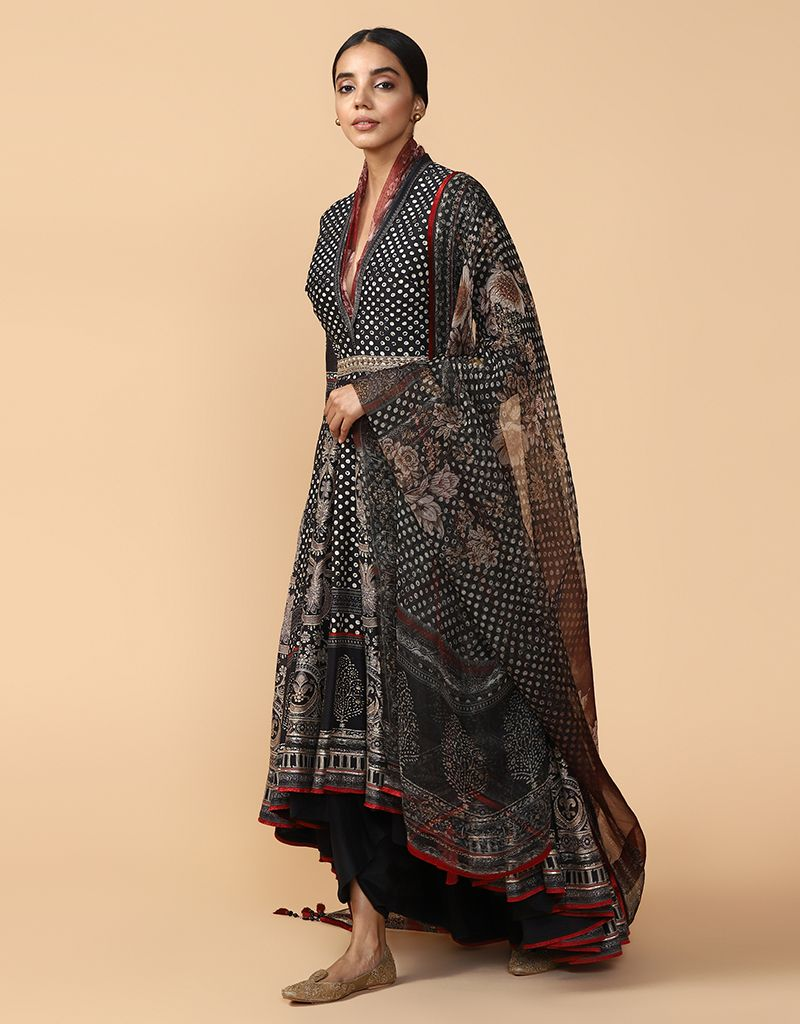Long Assymetric Anarkali With Dhoti Pants And Dupatta