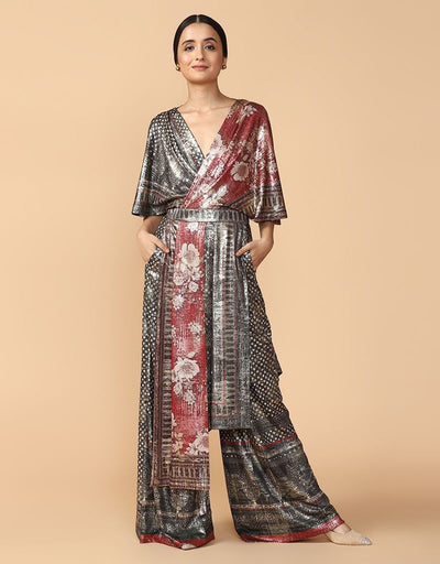 Digitally Printed Draped Jumpsuit