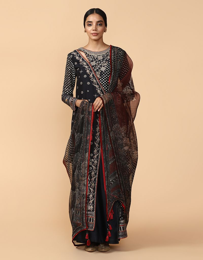 Digitally Printed And Embroidered Layered Kurta With Palazzo