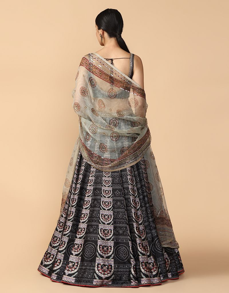 Digitally Printed Kalidar Lehenga Paired With Blouse And Dupatta