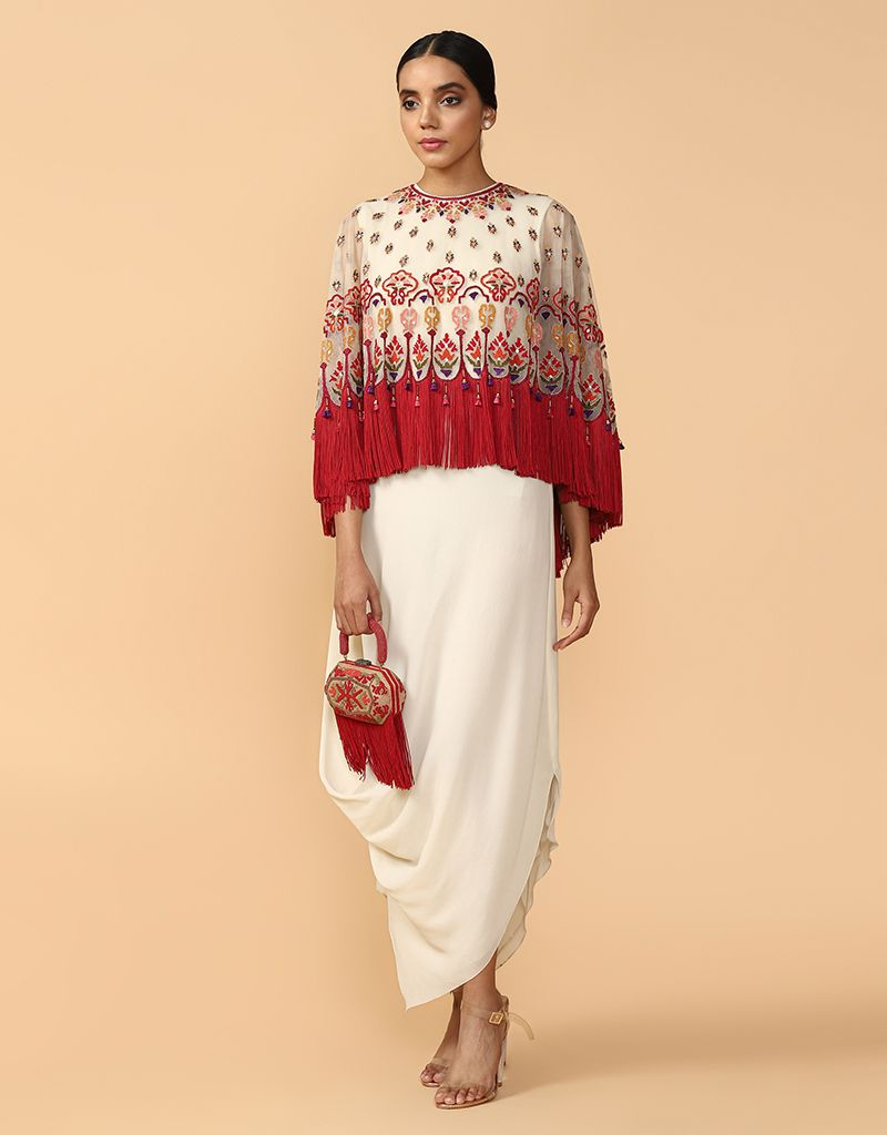Multi-Coloured Thread Embroidered Cape