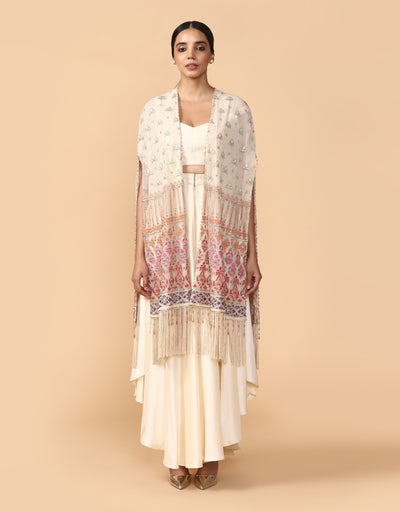 Multi-Coloured Thread Embroidered Long Cape