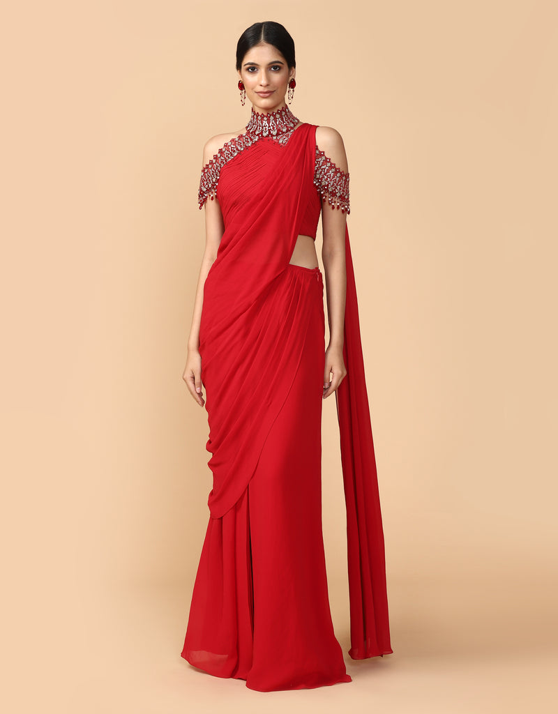 Pre-Draped Concept Saree Paired With A Fluted Blouse