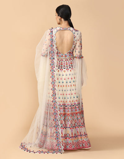 Multi-Coloured Thread Embroidered Anarkali With Churidar & Dupatta