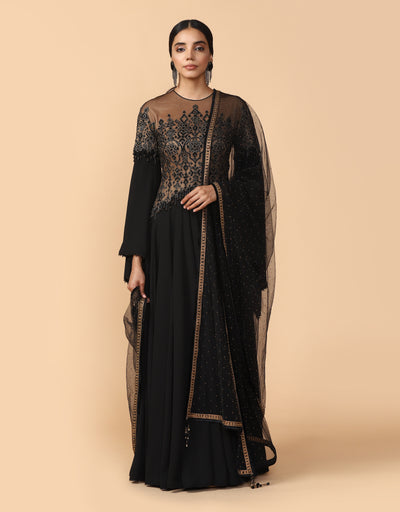 Embroidered Anarkali Paired With Churidar & Stole
