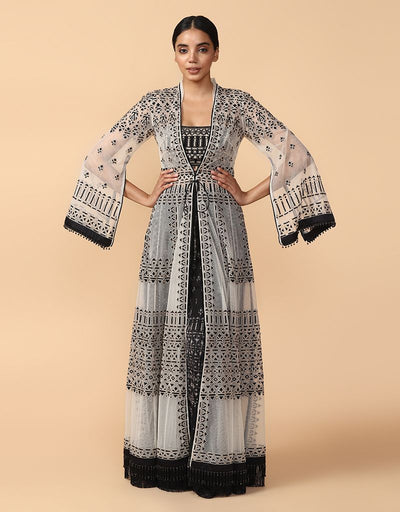 Thread Embroidered Jacket With Bustier And Trouser