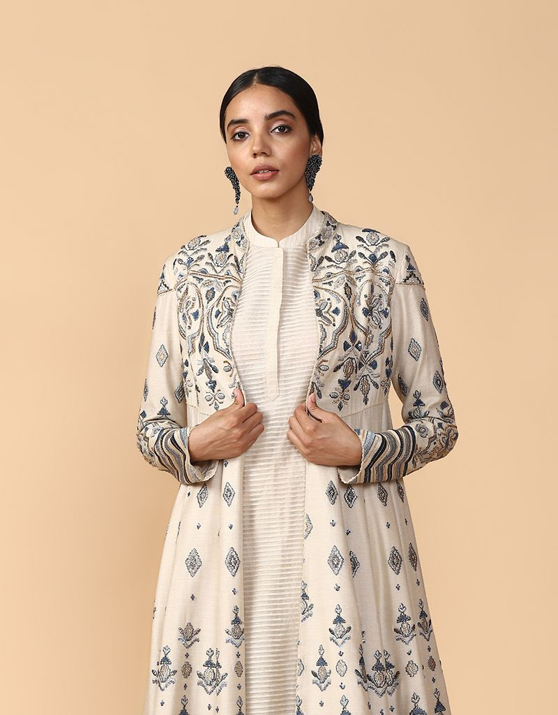 Thread Embroidered Jacket With Kurta And Trouser