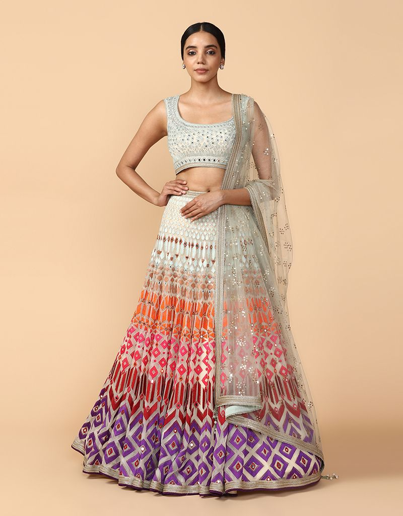 Multi-Coloured Thread Embroidered Lehenga With Classic Blouse & Mukaish Dupatta