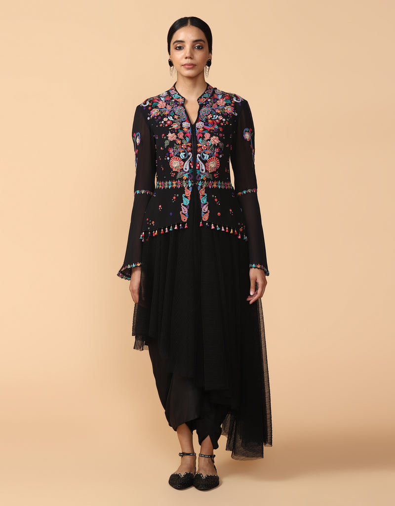 Embroidered Asymmetric Draped Kurta With Dhoti Pants