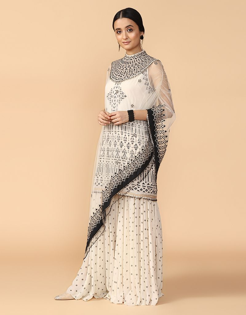 Thread Embroidered Kurta With Asymmetric Cape & Sharara