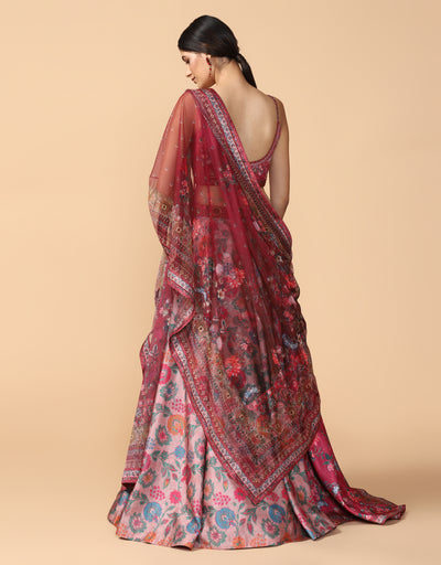 Pre Draped Digitally Printed Lehenga