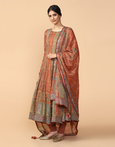 Printed Anarkali With Churidar & Dupatta