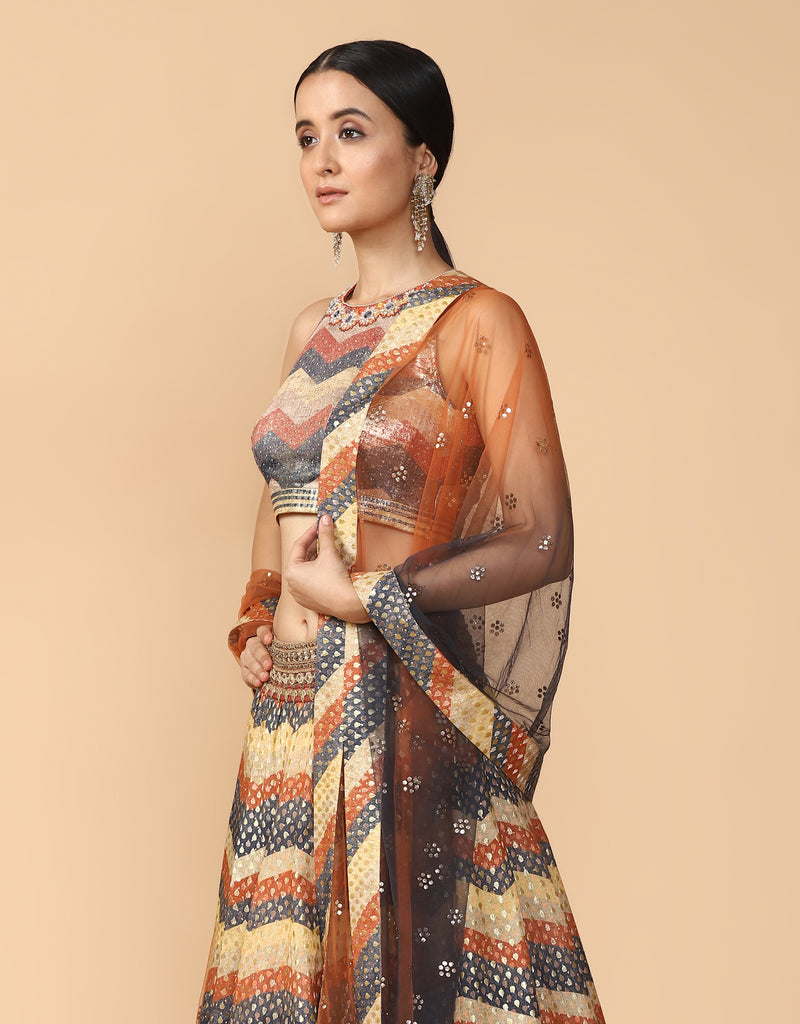 Printed Lehenga Paired With Blouse & Dupatta