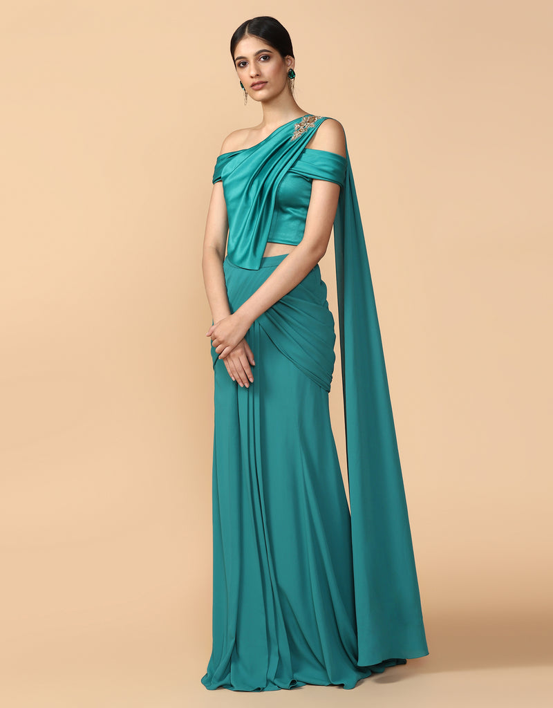Pre-Draped Concept Saree With A Pleated Blouse