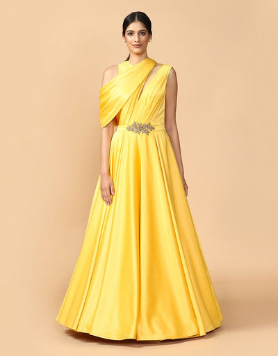 Gown With Shoulder Drape Details