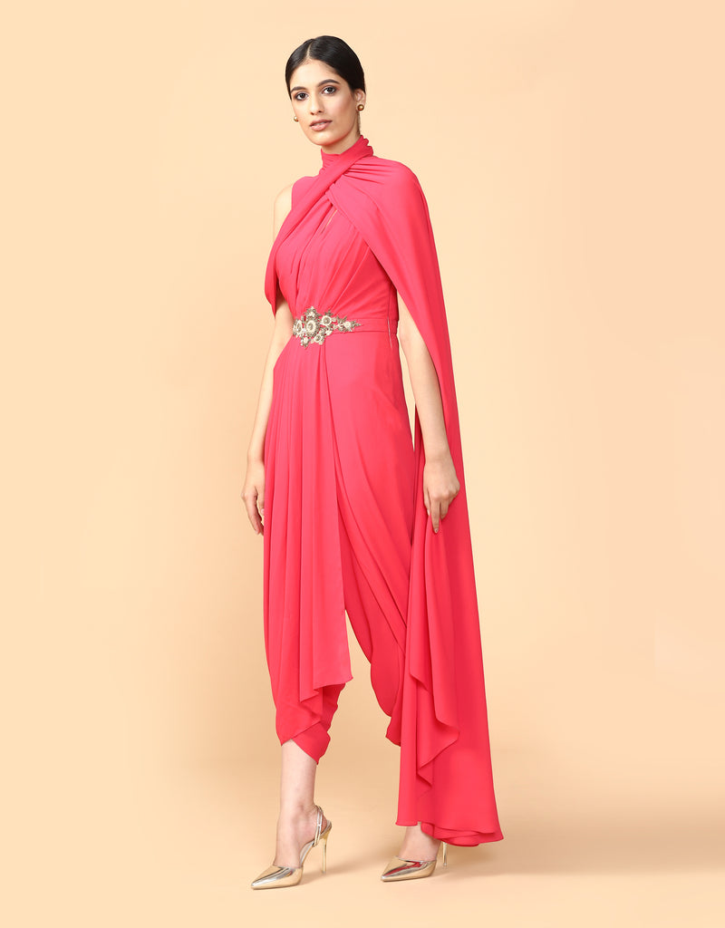 Hand Embroidered Draped Jumpsuit