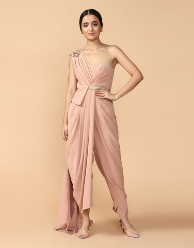 Gold Braid Draped Jumpsuit