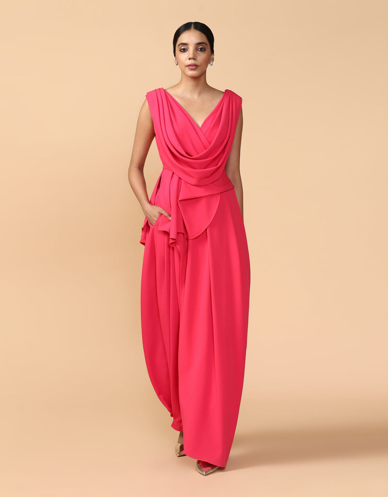 Asymmetric Draped Top With Pleated Trouser