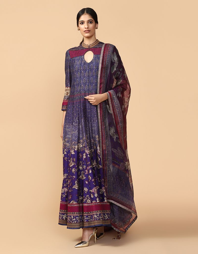 Embroidered Anarkali Paired With Churidar And Printed Dupatta