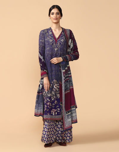 Straight Long Kurta With Palazzo & Dupatta
