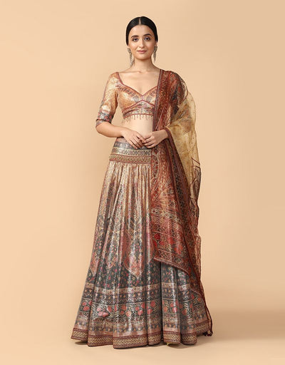 Printed Kalidar Lehenga With Blouse & Dupatta