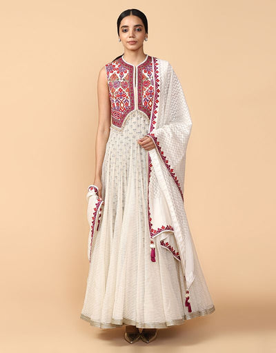 Anarkali With Gilet-Style Bodice Paired With Dupatta And Churidar.